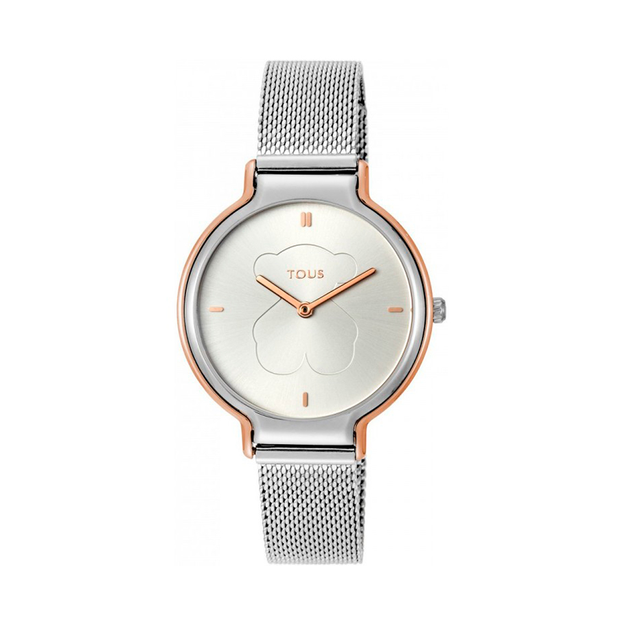 Reloj Tous Real Bear Mujer 800350890 Bicolor rosado acero correa malla