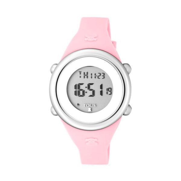 Reloj Tous Soft Digital Mujer 800350610 Acero y correa de silicona rosa