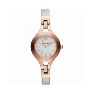 Reloj Armani Chiara Mujer AR7354 Acero rosado con esfera blanca nacarada y correa piel beige