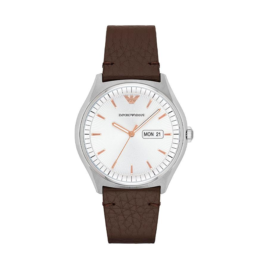 Reloj Armani Hombre AR1999 Acero con esfera blanca y detalles rosados con correa piel marrón
