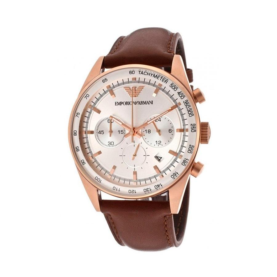 Reloj Armani Hombre AR5995 Acero rosado con esfera blanca y detalles rosados con correa piel marrón