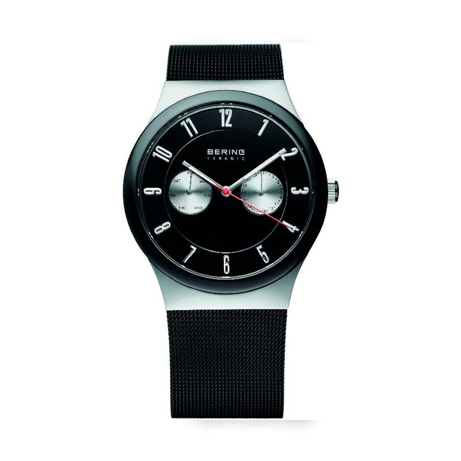 Reloj Bering Ceramic Hombre 32139-202 Acero y cerámica en color negro con calendario y correa malla milanesa negra