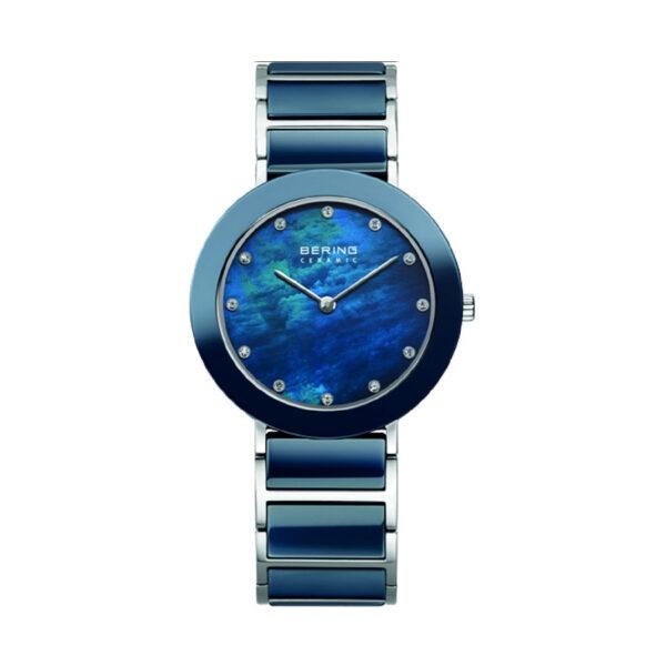 Reloj Bering Ceramic Mujer 11435-787 Acero bisel cerámico y esfera azul indicadores de horas Swarovski Elements con correa de acero y cerámica