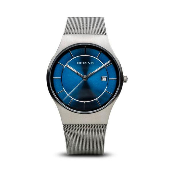 Reloj Bering Classic Hombre 11938-003 Acero con esfera azul y calendario con agujas neón y correa malla milanesa acero