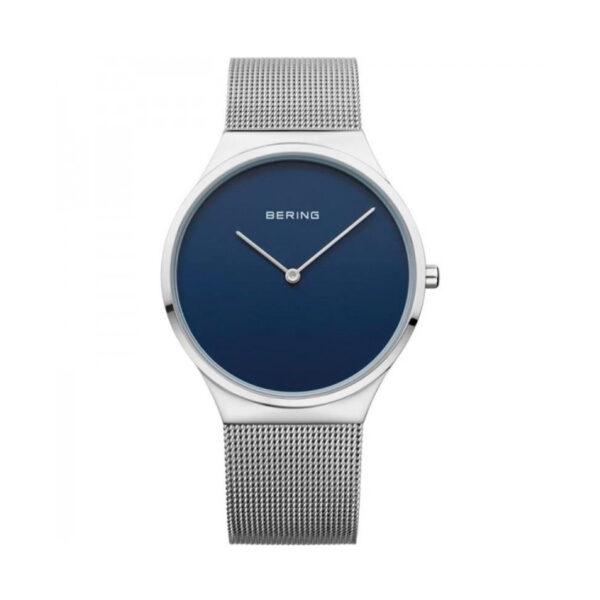 Reloj Bering Classic Hombre 12138-007 Acero esfera azul con malla milanesa