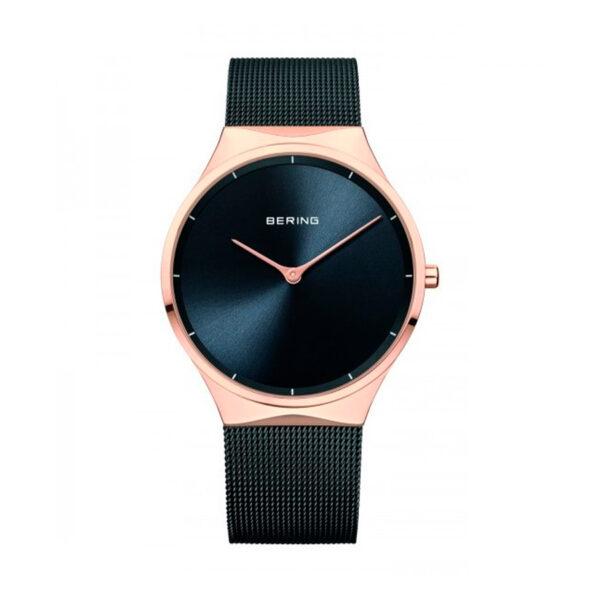 Reloj Bering Classic Hombre 12138-162 Acero rosado brillo con esfera negra y correa malla milanesa negra