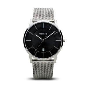 Reloj Bering Classic Hombre 13139-002 Acero pulido con esfera negra y calendario con correa malla milanesa