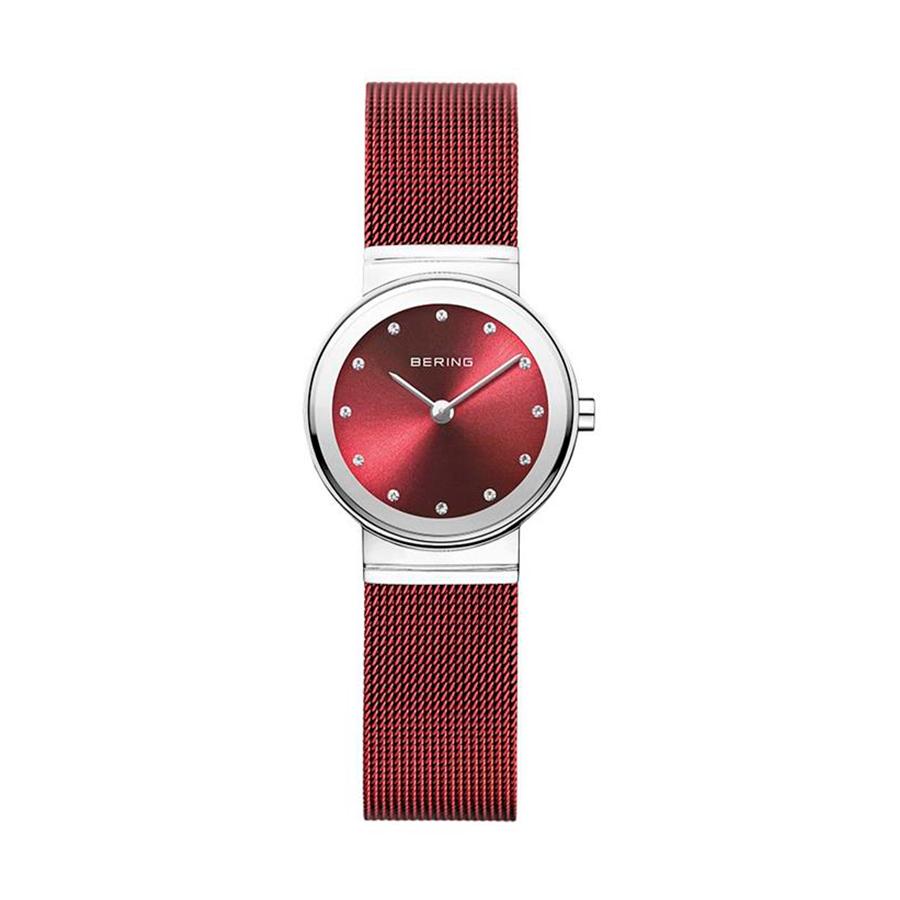 Reloj Bering Classic Mujer 10126-303 Acero con esfera roja ornamentada con Swarovski Elements y correa malla milanesa roja