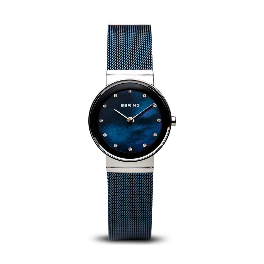 Reloj Bering Classic Mujer 10126-307 Acero con esfera nácar azul e indicadores de las horas con Swarovski Elements y correa malla milanesa azul