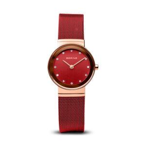 Reloj Bering Classic Mujer 10126-363 Acero rosado con esfera roja y ornamentado con Swarovski Elements y correa malla milanesa roja