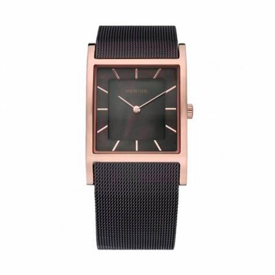 Reloj Bering Classic Mujer 10426-265-S Acero rosado esfera nácar y correa malla milanesa marrón