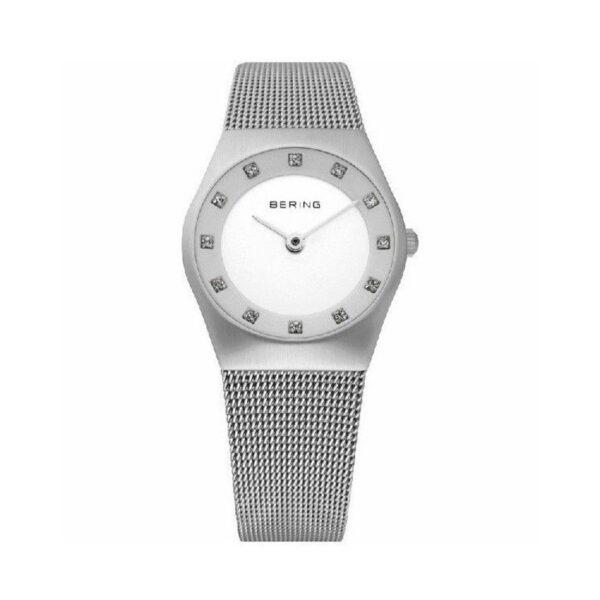 Reloj Bering Classic Mujer 11927-000 Acero plata con terminado cepillado y esfera blanca ornamentada con Swarovski Elements y correa malla milanesa plata