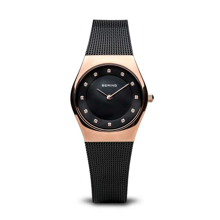 Reloj Bering Classic Mujer 11927-166 Acero rosado brillo con esfera negra ornamentada con Swarovski Elements y correa malla milanesa negra