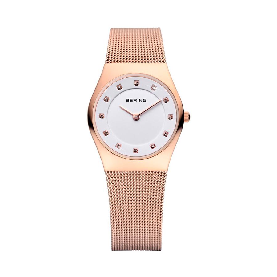 Reloj Bering Classic Mujer 11927-366 Acero rosado esfera blanco ornamentada con Swarovski Elements y correa malla milanesa rosada