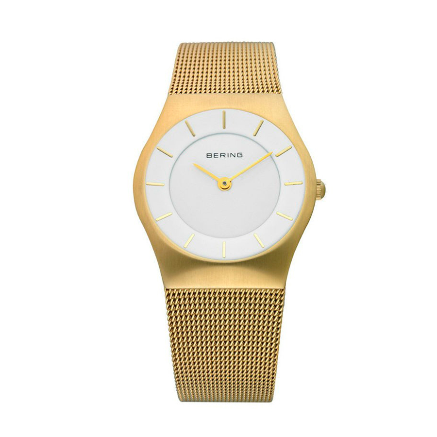 Reloj Bering Classic Mujer 11930-334 Acero dorado terminado cepillado esfera blanca detalles dorados y correa malla milanesa dorada