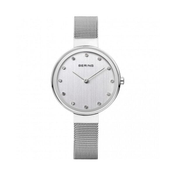 Reloj Bering Classic Mujer 12034-000 Acero esfera plata ornamentado con Swarovski Elements y correa malla milanesa plata