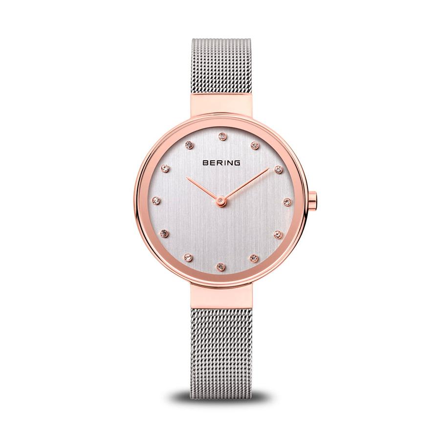 Reloj Bering Classic Mujer 12034-064 Acero con esfera plata ornamentada con Swarovski Elements combinada con rosado y correa mallamilanesa plata