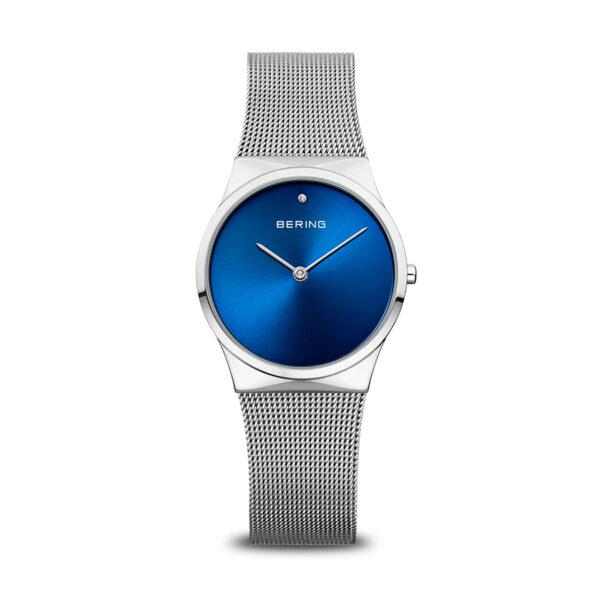 Reloj Bering Classic Mujer 12130-007 Acero esfera azul con cristal en índice 12 h y correa malla milanesa plata
