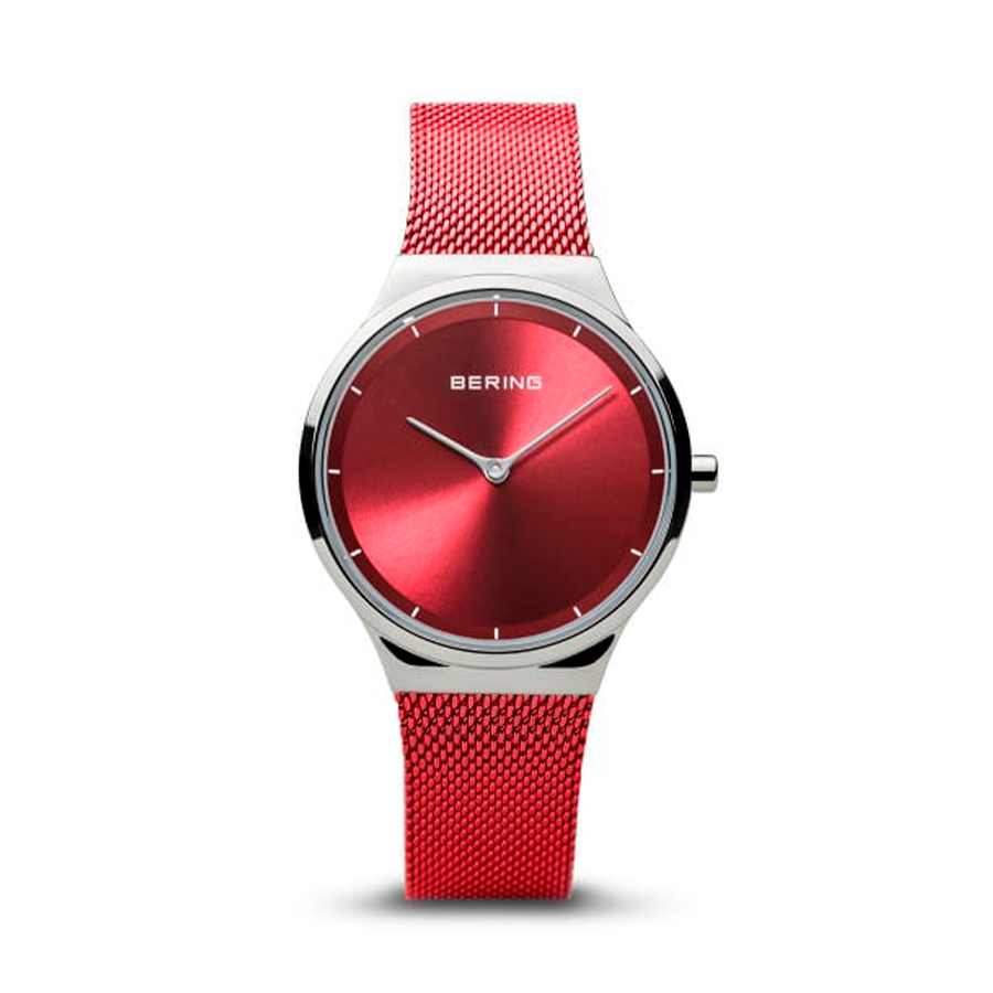 Reloj Bering Classic Mujer 12131-303 Acero con esfera roja y correa malla milanesa roja