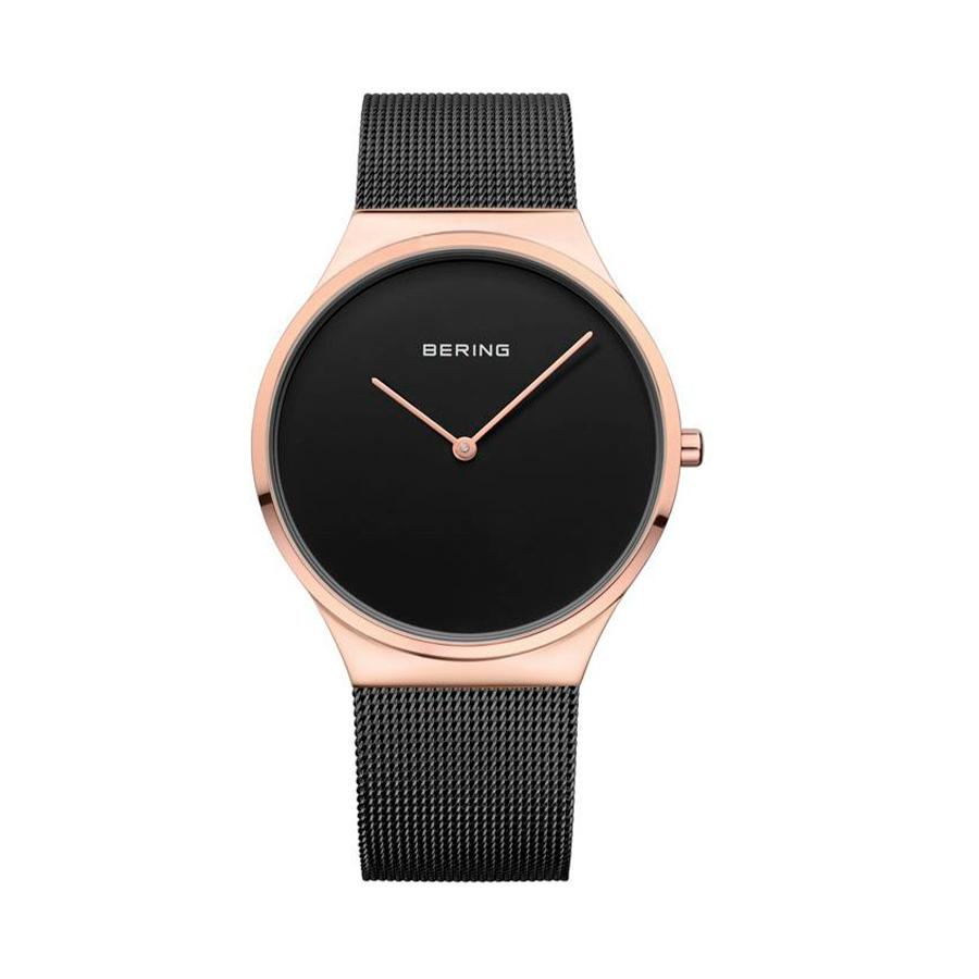 Reloj Bering Classic Mujer 12138-166 Acero rosado con esfera negra y correa malla milanesa negra