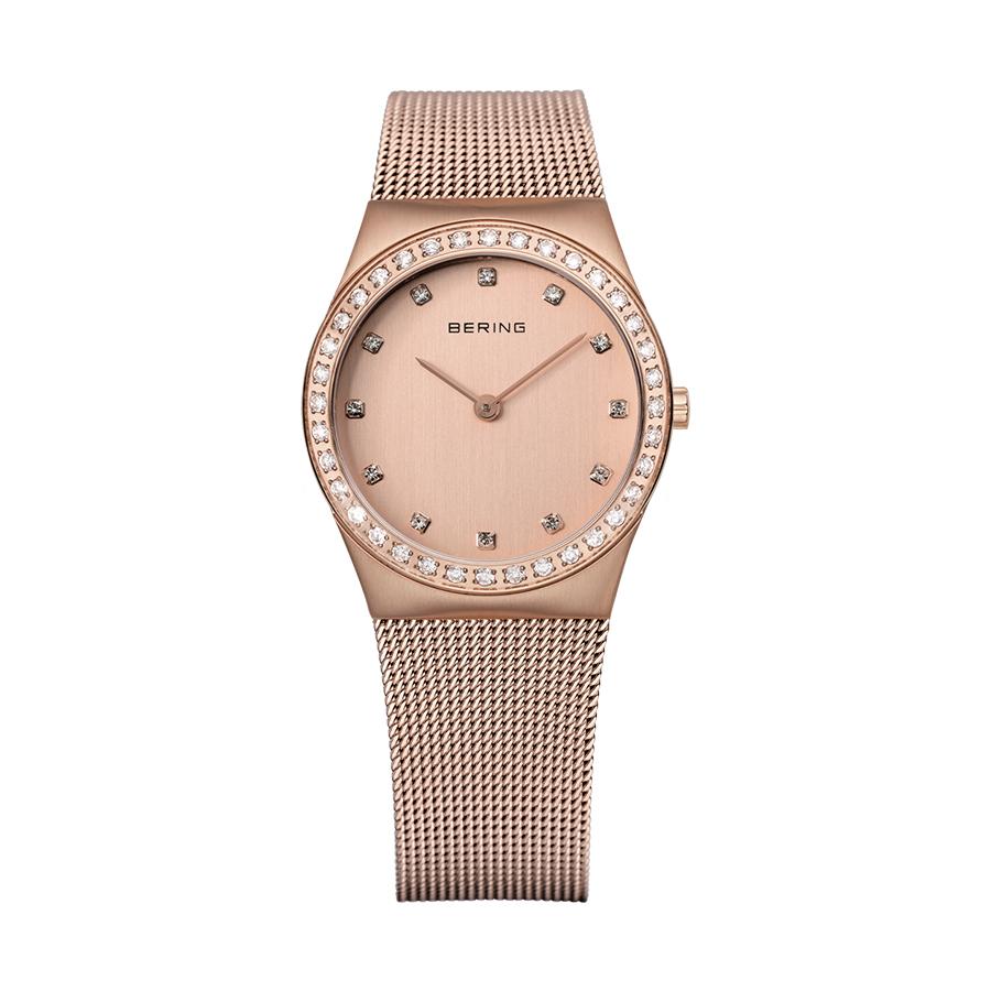 Reloj Bering Classic Mujer 12430-366 Acero rosado con esfera y bisel ornamentados con Swarovski Elements y correa malla milanesa rosada