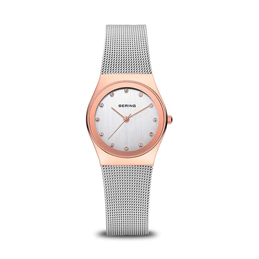 Reloj Bering Classic Mujer 12927-064 Acero con caja bicolor rosado y plata con piedra blanca en cada índice y correa malla milanesa