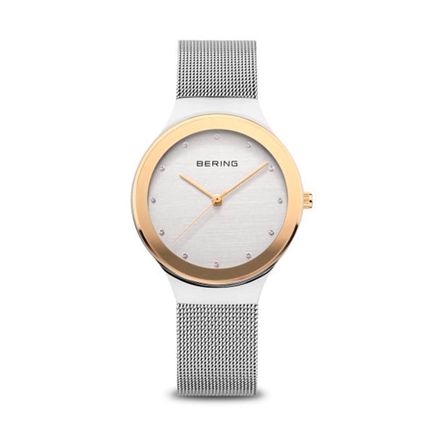 Reloj Bering Classic Mujer 12934-010 Acero bicolor dorado y plata con correa de malla milanesa plata y esfera ornamentada con Swarovski Elements