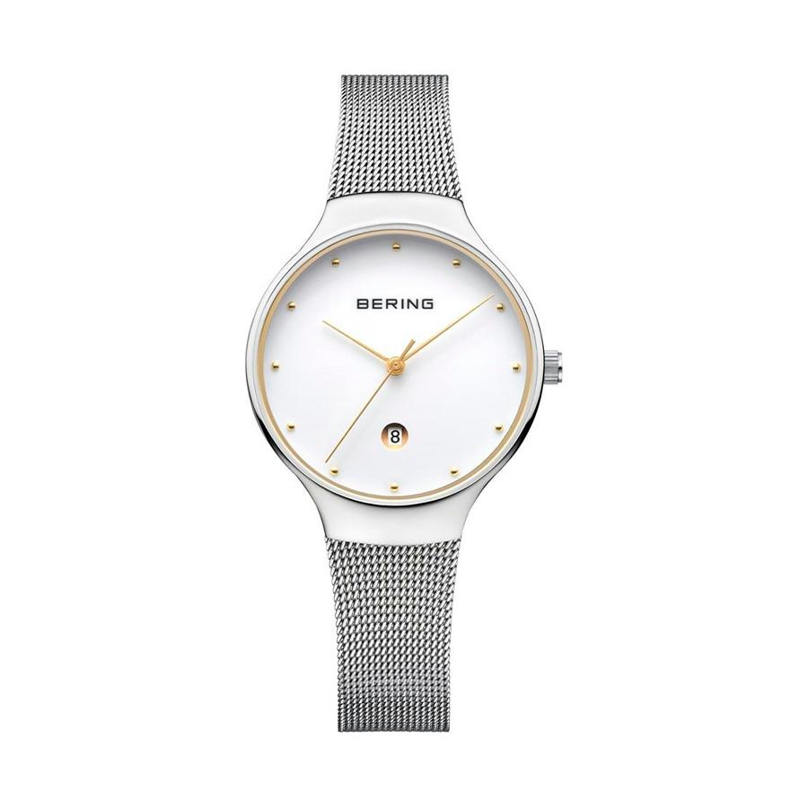 Reloj Bering Classic Mujer 13326-001 Acero plata con esfera detalles dorados con calendario y correa malla milanesa