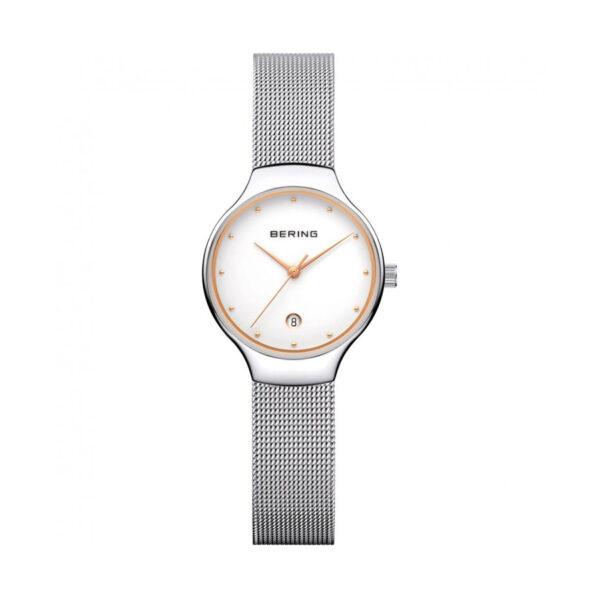 Reloj Bering Classic Mujer 13338-001 Acero pulido con esfera detalles dorados y calendario con correa malla milanesa