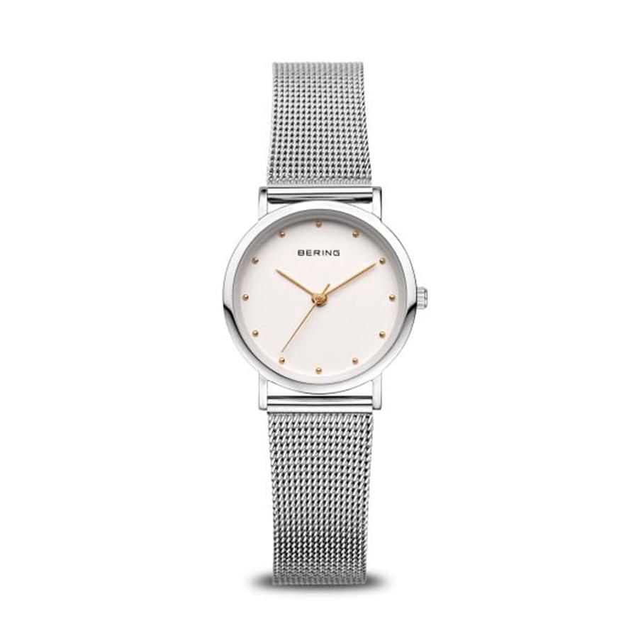 Reloj Bering Classic Mujer 13426-001 Acero esfera blanca detalles dorado y correa malla milanesa plata