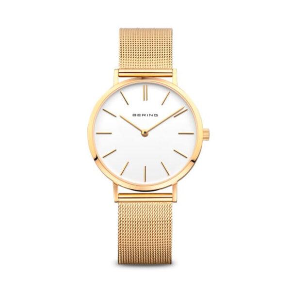 Reloj Bering Classic Mujer 14134-331 Acero dorado con esfera blanca y correa malla milanesa