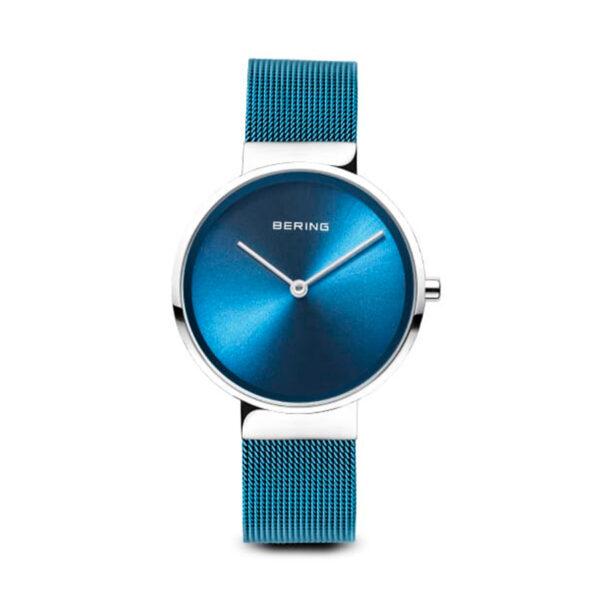 Reloj Bering Classic Mujer 14531-308 Acero esfera azul y correa malla milanesa azul