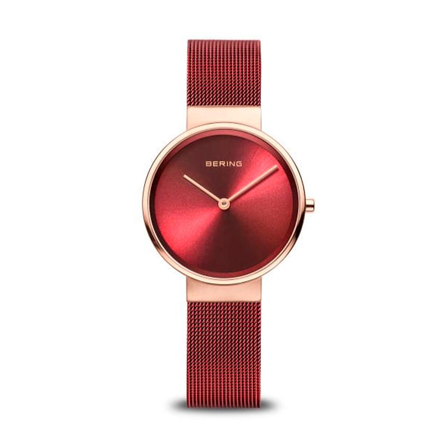 Reloj Bering Classic Mujer 14531-363 Acero rosado con esfera roja y correa malla milanesa roja