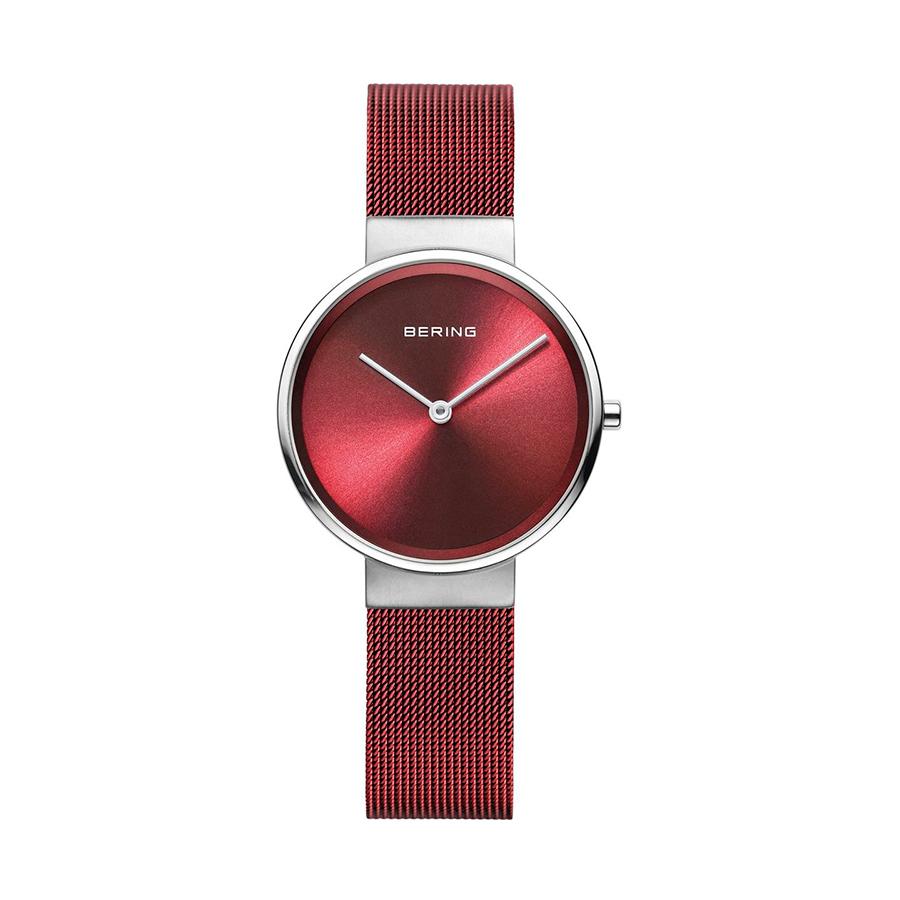 Reloj Bering Classic Mujer 14539-303 Acero con esfera roja y correa malla milanesa roja