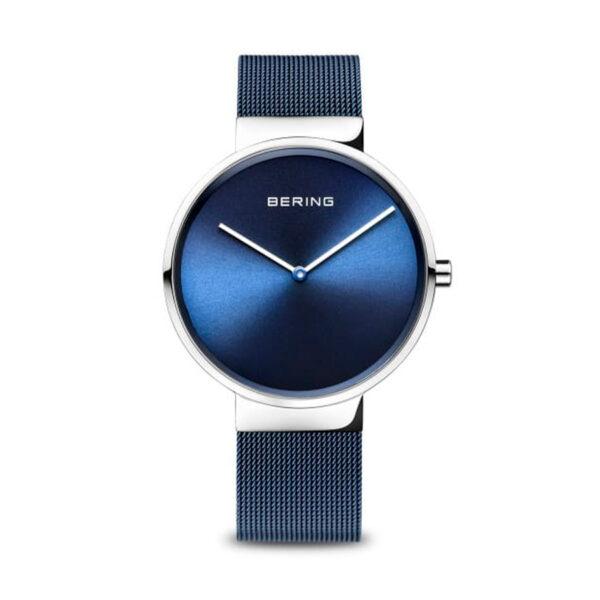 Reloj Bering Classic Mujer 14539-307 Acero esfera azul y correa malla milanesa azul