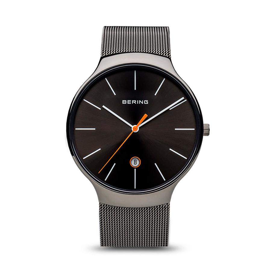 Reloj Bering Classic Unisex 13338-077 Acero gris con calendario y correa mallamilanesa gris