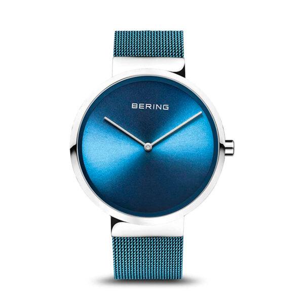 Reloj Bering Classic Unisex 14539-308 Acero esfera azul y correa malla milanesa azul