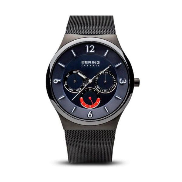 Reloj Bering Sale Hombre 33440-227 Acero negro esfera azul con calendario y correa malla milanesa