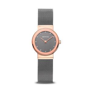 Reloj Bering Sale Mujer 10126-369 Acero rosado esfera gris ornamentada con Swarovski Elements y correa malla milanesa gris