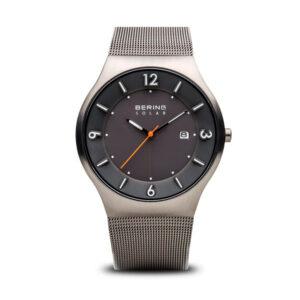 Reloj Bering Solar Hombre 14440-077 Acero gris con calendario y correa mallamilanesa gris