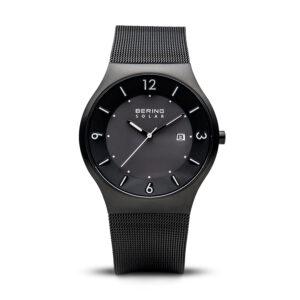Reloj Bering Solar Hombre 14440-222 Acero negro con calendario agujas neón y corre malla milanesa negra