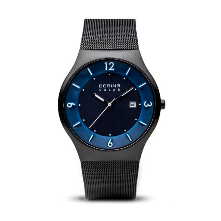 Reloj Bering Solar Hombre 14440-227 Acero negro con esfera azul y calendario agujas neón Solar y correa malla milanesa negra