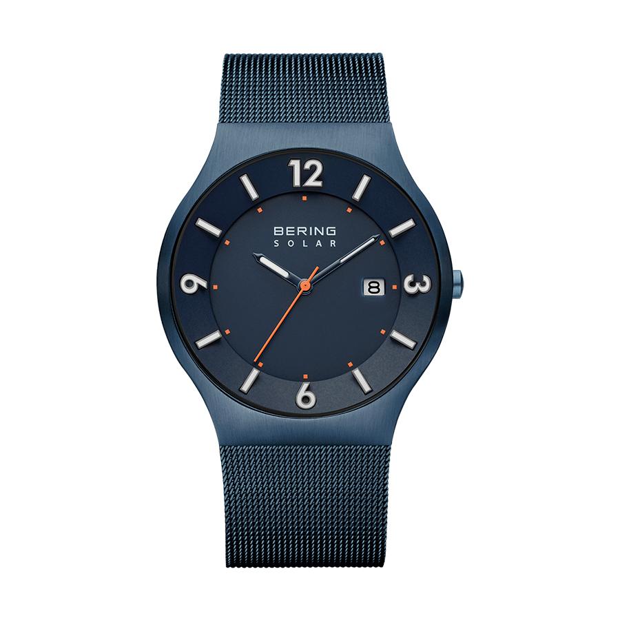 Reloj Bering Solar Hombre 14440-393 Acero azul con acabado cepillado caja slim y correa malla milanesa