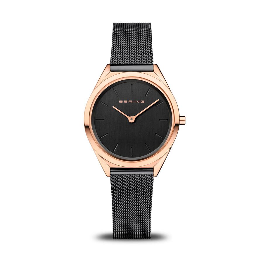 Reloj Bering Ultra Slim Mujer 17031-166 Acero rosado con esfera negra y correa malla milanesa negra