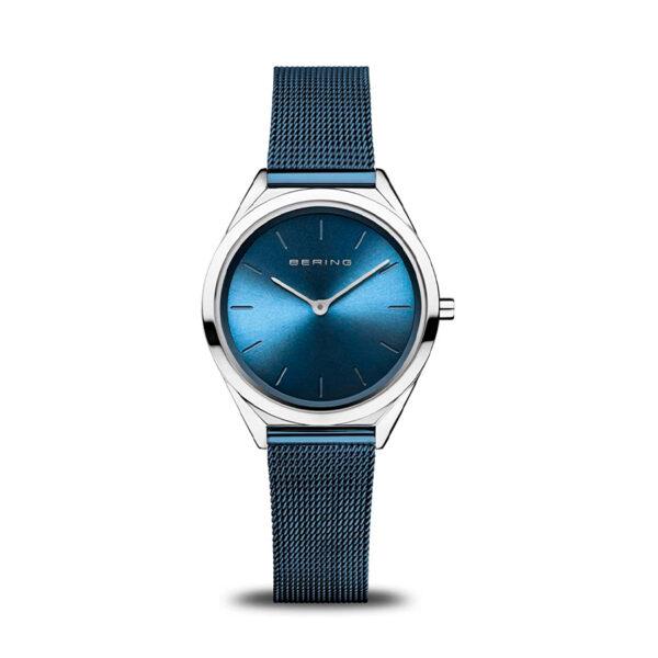 Reloj Bering Ultra Slim Mujer 17031-307 Acero esfera azul y correa malla milanesa azul