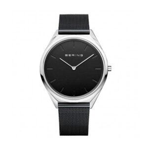 Reloj Bering Ultra Slim Unisex 17039-102 Acero caja slim con esfera negra y correa malla milanesa negra