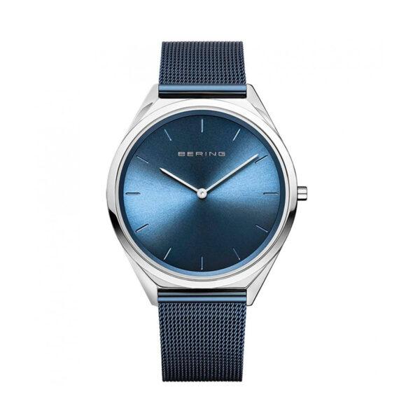 Reloj Bering Ultra Slim Unisex 17039-307 Acero con esfera ultra slim azul y correa malla milanesa azul