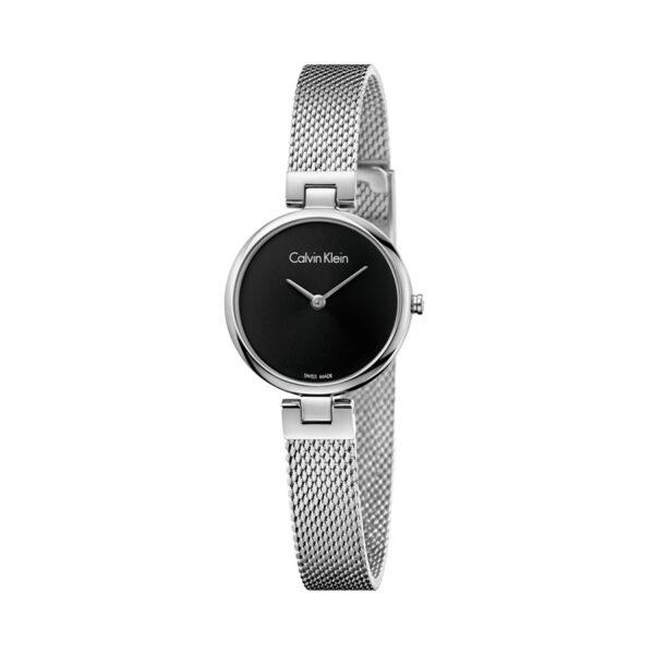 Reloj Calvin Klein Authentic Mujer K8G23121 Acero con esfera negra dos agujas y correa malla milanesa plata
