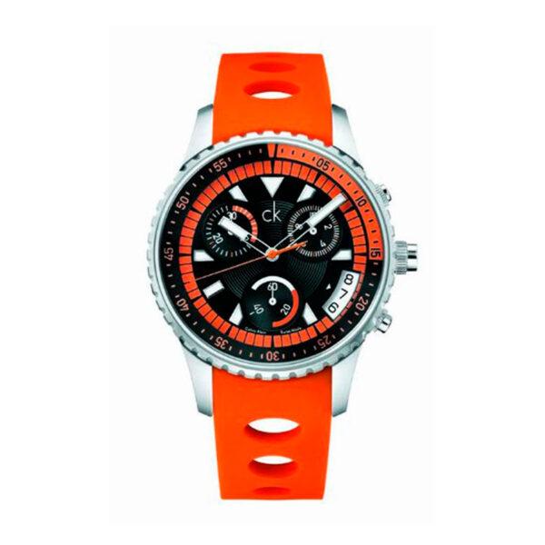 Reloj Calvin Klein Challenge Hombre K3217275 Acero con esfera multicolor negra blanca y naranja con cronógrafo y calendario correa de silicona naranja