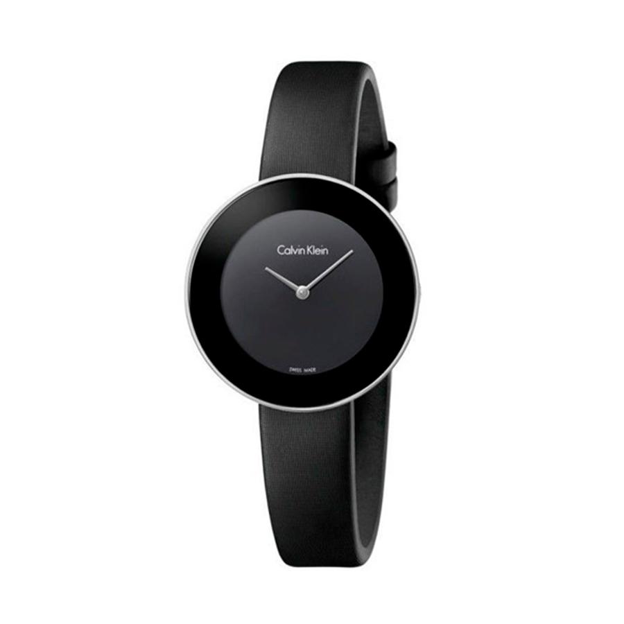 Reloj Calvin Klein Chic Mujer K7N23CB1 Acero esfera negra y correa negra piel